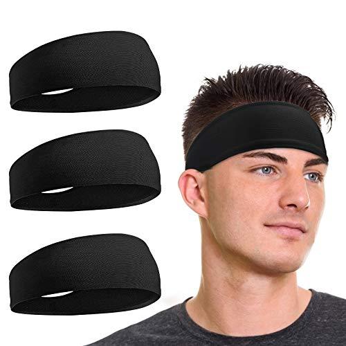 flintronic Sport Stirnband, 3 Stück Unisex Headband, Elastisches Anti-Rutsch Schweißableitendes Schweißband Stirnband für Männer Frauen-Tennis, Laufen, Crossfit, Fitness für Damen und Herren