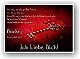 LIEBESSCHLOSS - Geschenkidee Partner Partnerin Poster Bild Geschenk Frau Mann Wandbild Liebesgeschenk mit Spruch Ich Liebe Dich Herz Schloss Schlüssel
