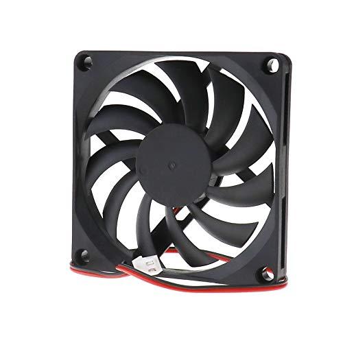Creative-Idea Ventilador / enfriador de PC [2 piezas] sin escobillas, silencioso [80 x 80 x 10 mm] DC 12 V, 2 pines, ventilación de computadora