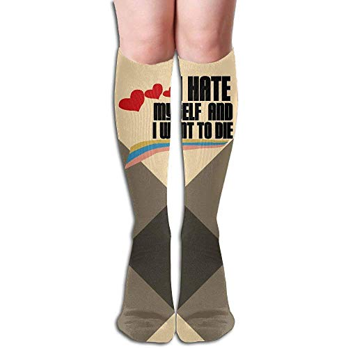 Nifdhkw Sarcastic I Hate Myself And Want To Die 3D Printing Casual Compression Socks