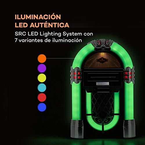auna Kentucky Equipo Jukebox - Bluetooth, sintonizador FM, Puerto USB y Ranura...