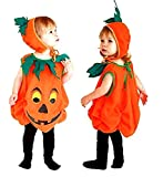 Costume Zucca - Travestimento - Carnevale - Halloween - Vegetale - Colore Arancione - Bambino - Taglia M - 3-4 anni - Idea regalo per natale e compleanno