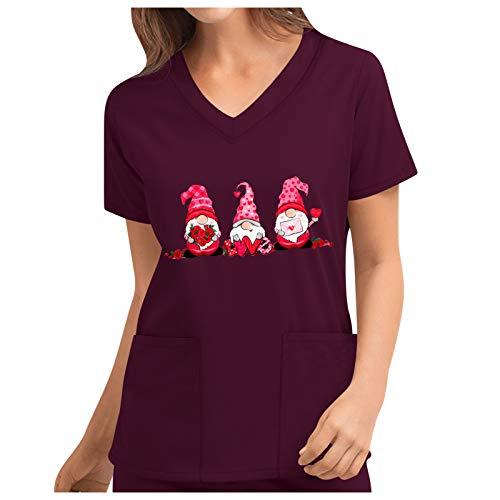 Dasongff Schlupfkasack Damen Kasack Kurzarm V-Ausschnitt Bunter Schlupfjacke Liebe Drucken Gnomes Schlupfhemd T-Shirts Uniform