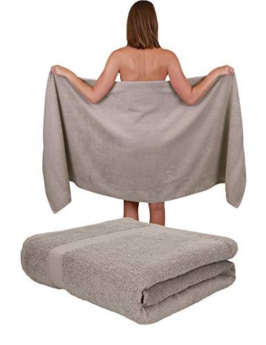 Betz Paquete de 2 Toallas de Sauna Palermo 100% algodón tamaño 80x200 cm Color Gris Piedra