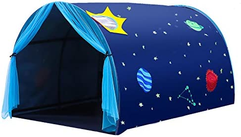 gootrades Kids Play Tents Starry Sky Bed Tunnel Tents Portable Cartoon Playhouse with Net Curtain product image