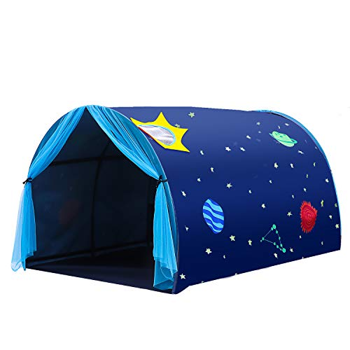 gootrades Kids Play Tents, Starry Sky Bed Tunnel Tents, Portable Cartoon Playhouse with Net Curtain for Boys &Girls, , Indoor & Outdoor Games, 140x100x80cm (blue1)