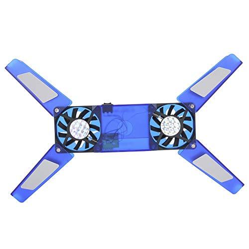 Goshyda Soporte de enfriamiento para computadora portátil, Almohadilla de enfriamiento Plegable con Doble Ventilador Universal Cable USB Suministros de computadora para computadoras portátiles (Azul)