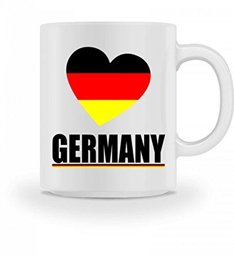 Hochwertige Tasse - Herz Deutschland Flagge Ich Liebe Germany Fahne T-Shirt Geschenk Fussball Trikot