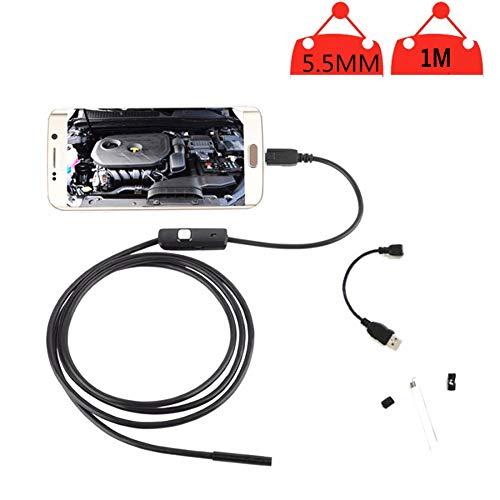 RJY Endoskop 1M Inspektionskamera 2 in 1 Borescope 5.5Mm Halb Steif Endoskopkamera Rohrkamera Wasserdicht Für Android Windows Mit OTG+UVC