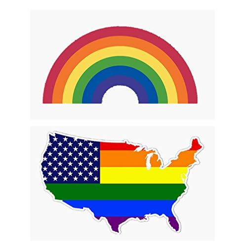Amosfun 2 Piezas Lgbt Pride Car Stickers Calcomanía Rainbow Bandera Americana Lesbiana Gay Bisexual Transgénero Orgullo Calcomanías Reflectantes para Automóviles