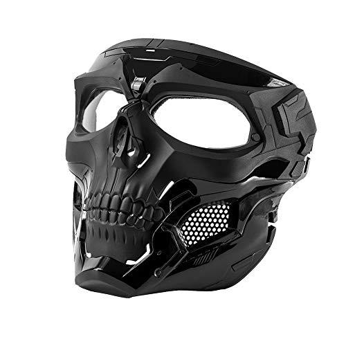 OneTigris Skull Messenger Gesichtsmaske Airsoft Maske Kompatibel für Softair Paintball CS (Schwarz)