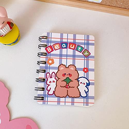 Mini Cuaderno En Espiral De Oso Para Estudiante, Agenda Linda, Cuaderno De Papel, Papelería Escolar Coreana, Azul