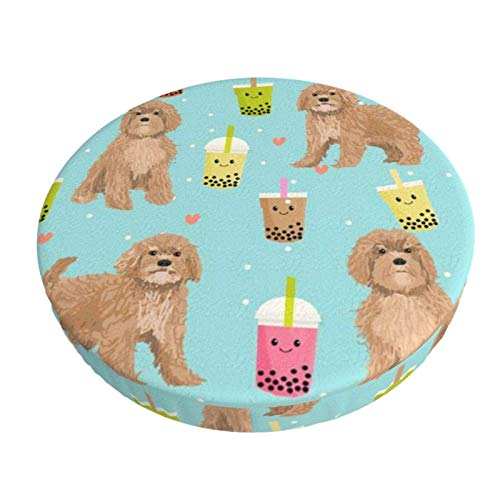 Round Bar Stools Cover,Bubble Tea Boba Kawaii Nettes Cavapoo-Muster,Stretch Chair Seat Bar Stool Cover Seat Cushion Slipcovers Chair Cushion Cover Round Lift Chair Stool