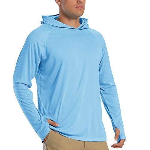 Sweat à Capuche à Manches Longues pour Homme T-Shirt de Protection Séchage Rapide Shirts UV Sweat à Capuche Poids Léger Hoodie UPF 50+ Vêtements de Sport été T Shirt Surf Beach Bleu