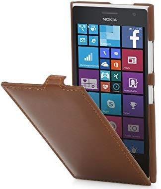 StilGut UltraSlim Hülle, Hülle aus Leder kompatibel mit Nokia Lumia 730 & Lumia 735, Cognac