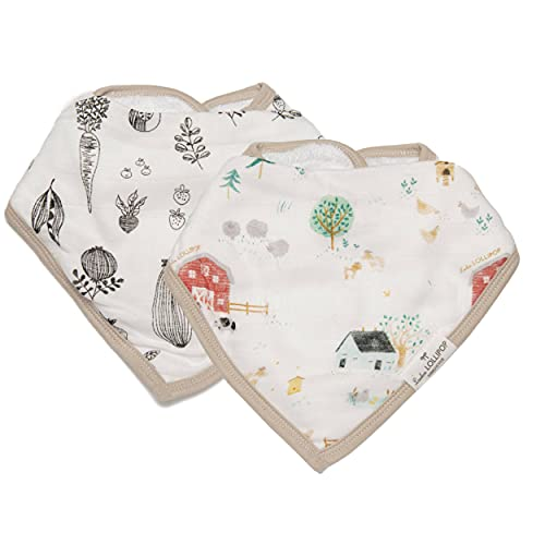 Loulou Lollipop Soft Breathable and Absorbent Muslin Bandana Bib Drool Bib Set for Baby Girl and Boy  Adjustable 3 to 36 Months  2 Pack - Animal Farm