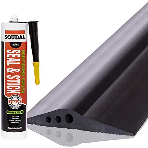 STEIGNER Garagentor Dichtung inkl. Montagekleber Bodenabdichtung aus EPDM, 3 m, 28 mm x 155 mm, SGD03