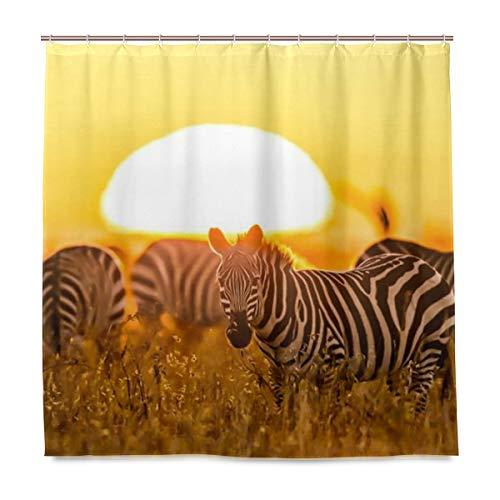 BIGJOKE Duschvorhang, Afrikanischer Zebra-Baum, schimmelresistent, wasserdicht, Polyestergewebe, 12 Haken, 183 x 183 cm, Heimdekoration