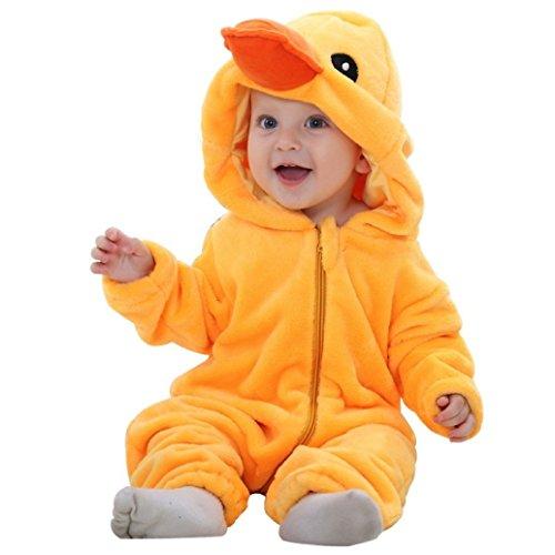 Katara 1778 Costume Papero Neonati Bambini Tuta Kigurumi Animale Pigiama Intero con Cappuccio Bambino 6-12 Mesi
