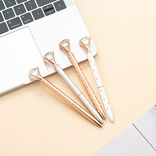 PASISIBICK 4 PCS Diamond Pens Bling Crystal Metal Ballpoint Pen Office Supplies, Rose Gold/Silver/White With Rose Polka Dots/Rose Gold With White Polka Dots, Includes 4 Pen Refills Photo #5