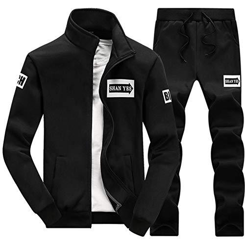 WYX Herren Set 2PC Zipper Herbst Sportswear Casual Trainingsanzug Männlich Sweatshirt Jacket + Pants,Black,XXL