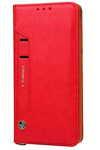 Handytasche Compatible with Huawei Mate 20 Pro,Kunst Leder Case Handyhülle Flip Case mit Kredit Karten Hülle Geldklammer Unsichtbar Magnet und Stand Funktion Schutzhülle,Rot