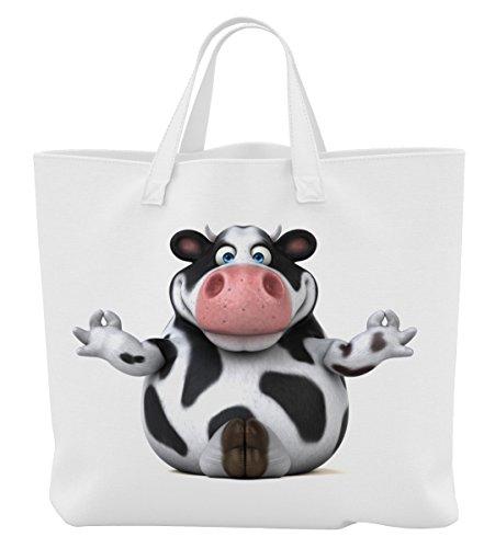 Merchandise for Fans Einkaufstasche- 45 x 42 cm x 9,5 cm - Motiv: 3D Comic Kuh beim Yoga - 04