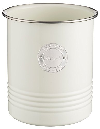 Typhoon Living Utensil Pot, Steel, Cream, 12.5 x 12.5 x 15 cm