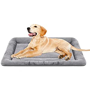 JoicyCo 36 inch Dog Bed Washable Crate Pad Anti-Slip Soft Pet Beds Mattress Kennel Bed Mat