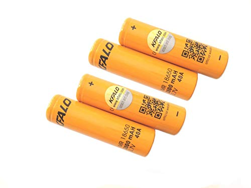 4 Pack of Authentic KFALO2800, 2800mAh 3.7V 40A, Flat Top,18650-Battery, for Flashlight
