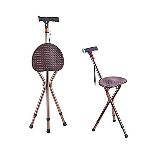 FHKBB Asiento Ajustable, muletas Plegables, Anciano Walker The Tripod Walking Stick Taburete Multifuncional LED Inteligente y Alarma con muletas Recargables con taburetes 🔥