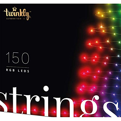 Twinkly Smart Decorations Custom 150 Bulb LED RGB App-Controlled String Lights with Downloadable Light Displays