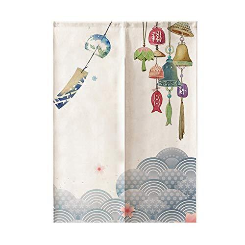 JH&MM Japanisch-Stil gedruckt Türvorhang Küche Partition Restaurant Fume-Proof Half-Height Baumwolle und Leinen Gardinen,1,85 * 90