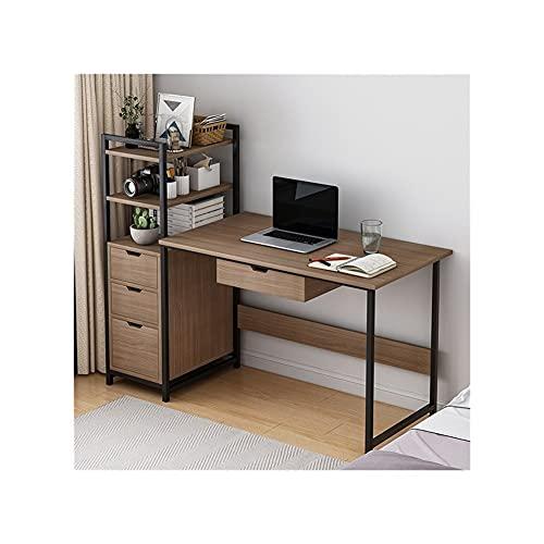 LICHUAN Escritorio de ordenador moderno con soporte para CPU, escritorio para ordenador portátil con estantes cajones, escritorio de estudio de escritura para oficina en casa (color: B)