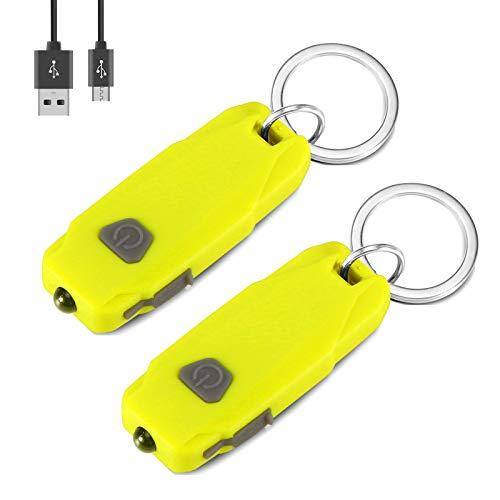 VADIV 2PCS Mini Led Luces, 2 Luz Modos USB Recargable Llavero Linterna, 50 Lúmenes Portátil Ultra Ligero Al Aire Libre Pequeña Antorcha Lámpara de Llavero para Apagones, Caminar, Acampar-Amarillo