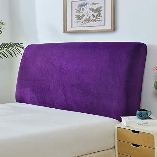 Funda para cabecera de cama de felpa, color sólido, elástica, todo incluido, protección contra el polvo, cubierta para cabecero, color morado, longitud: 220 – 235 cm