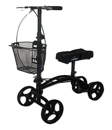 iLiving Mobility Steerable Deluxe Knee Walker/Scooter with Basket, Adjustable Pads and Tiller with Dual Braking, Alternative to Crutches, Matted Black (ILG-611)