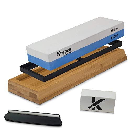 Wet Stone Sharpening Kit | Whetstone Sharpening Stone Set | Water Stone Knife Sharpener 1000/6000 with Nonslip Bamboo Base, Flattening Stone & Angle Guide | E-Book & Video for Razor Sharp Blades