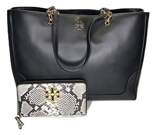 Price comparison product image Tory Burch Carter Tote bundled with Tory Burch Britten Zip Continental Wallet (Black / Embossed Snake)