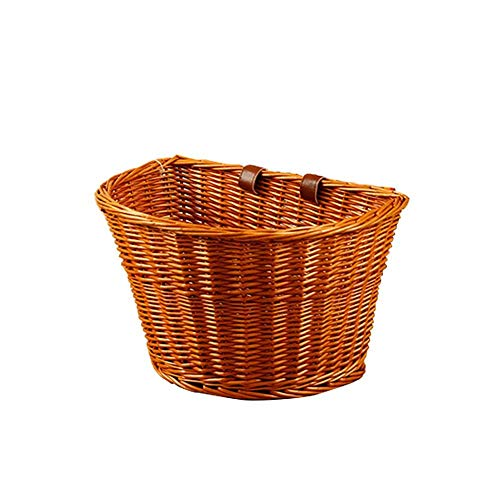ZIYUMI Front Handlebar Bike Basket Wicker Woven Shopping Basket Vintage Bicycle Basket with Leather Straps