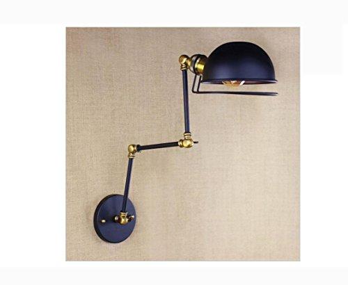AllureFeng design rétro noir ajuster tête swing arm appliques lumières bougeoir atelier chevet chambre à coucher