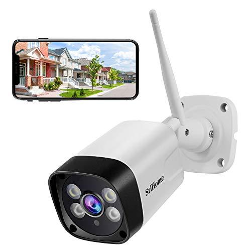 SriHome SH035 - Cámara de vigilancia WiFi 1296P exterior, cámara de seguridad con visión nocturna, IP66, impermeable, detección de movimiento, 2 vías, audio, soporte para PC Android iOS