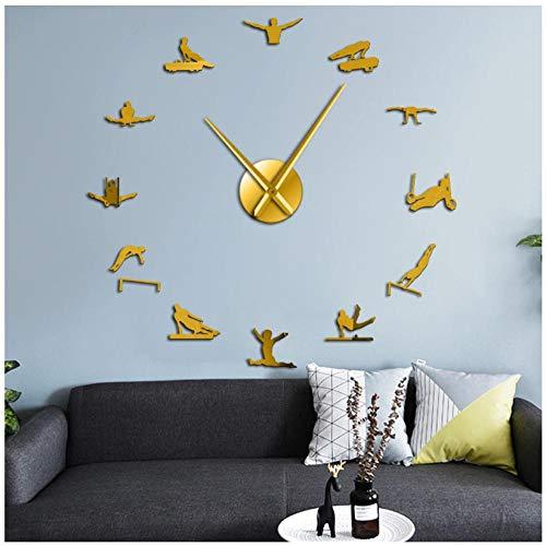 ZYZYY 47inches Hombres Gynmastics Hombres Fuertes Arte de la Pared Reloj de Pared sin Marco Grande Reloj de Pared Gigante Decorativo Gimnasta Masculino Espejo DIY Pegatinas de Pared
