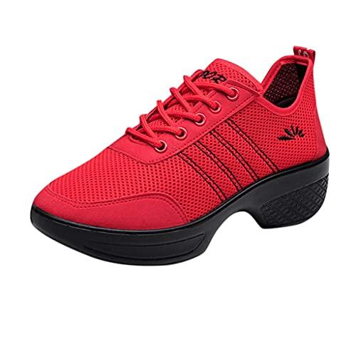 HUADUO Calcetines con Plataforma Zapatillas de Deporte, Zapatos Ligeros para Caminar para Mujer Zapatillas de Deporte Informales de Moda con Cordones Zapatos de enfermería para Mujer