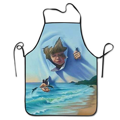 Pag Crane Delantal de Cocina Delantal de Cocina Delantales de Babero Delantal de Jefe delfín Saltador Hogar Fácil Cuidado para Cocina, Barbacoa y Parrilla