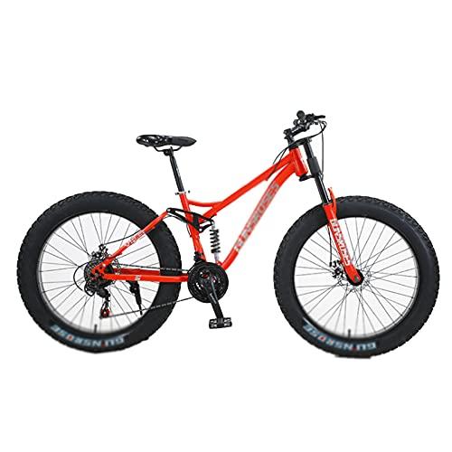 Fat Tire Mountain Bike, 7 velocità, Cambio Shimano, con Telaio in Acciaio Ad Alto Tenore di Carbonio, Doppio Freno a Disco E Bici Antiscivolo con Ruote da 26 Pollici Red-Spoke Wheel