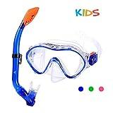 SKL Kids Snorkel Set,Dry Top Snorkel Mask with Big Eyes for Boys, Girls,Anti-Fog