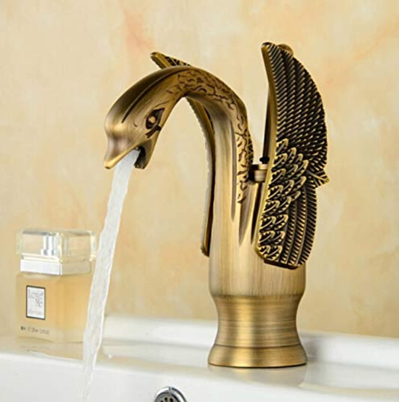 JONTON Faucet Wash Faucet Antique Faucet Hot And Cold Retro Full Copper Swan gold Faucet European Single Cold Art Height Faucet Black