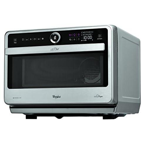 Whirlpool Microonde JT 479 IX Chef Premium termoventilato combinato, 33 litri, Inox, con griglia alta, griglia bassa, piatto Crisp + maniglia
