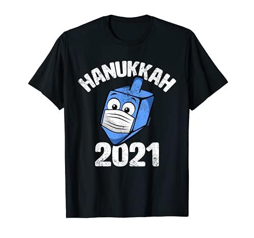 Funny Hanukkah 2021 Dreidel Wearing Face Mask Graphic T-Shirt